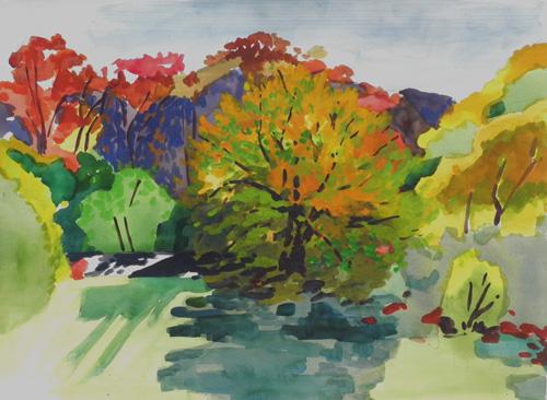 """Teresa Welch,  Autumn Scene, Lexington , watercolor, 22"""" x 30"""""""