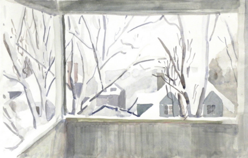 """Teresa Welch,  City Snow Day , watercolor, 14"""" x 21"""""""
