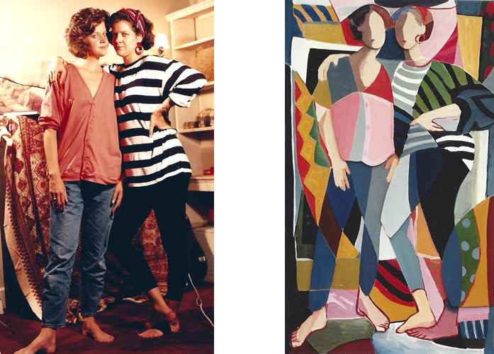 """Betsy and Becky Chambers, Fenway Studios, 1990             Teresa Welch,  The Twins , 28"""" x 48"""",oil and mixed media relief                                                             on canvas. 1991"""