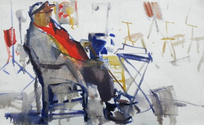 "Teresa Welch,  Paul Scott in the Studio  , oil/canvas, 18"" x 29"", 1979,Montserrat School of Visual Art, Beverly, MA"