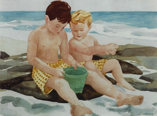 """Teresa Welch,  Jeremy and Tyle r, watercolor, 22"""" x 30"""", 1994"""