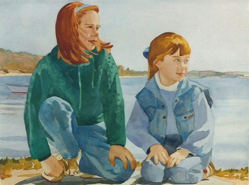 """Teresa Welch,  Linsey and Casey, watercolor, 22"""" x 30"""", 1993"""