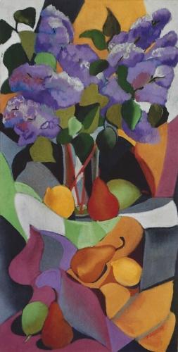"Teresa Welch,  Lilacs and Frui t, pastel, 30"" x 15"", 1991"