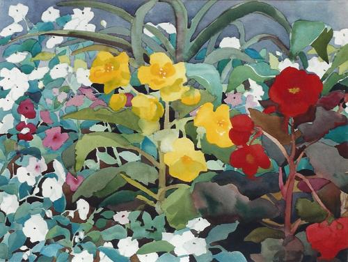 "Teresa Welch,  Shade Garden II , watercolor, 22"" x 30"", 1992"