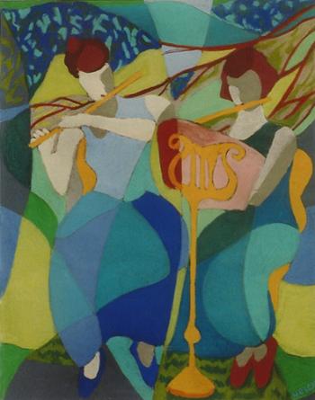 "Teresa Welch,  Flutists In A Garden , pastel, 26"" x 20"", 1992"
