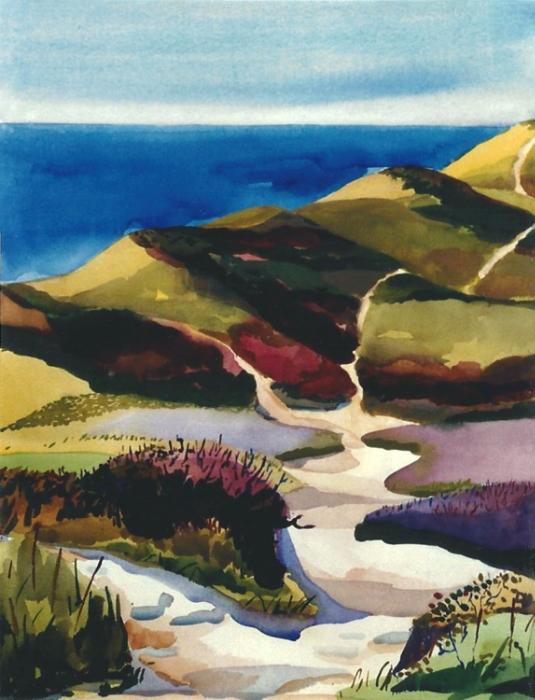 "Teresa Welch,  Provincelands , watercolor, 30"" x 22"", 1992"