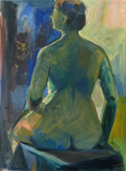 """Teresa Welch,  Green Nude , oil on rag paper, 30"""" x 22"""", 1993, Enhanced by Salvatore Del Deo"""