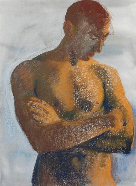 "Teresa Welch,  Paul , watercolor and pastel on rag paper, 30"" x 22"", 1993"