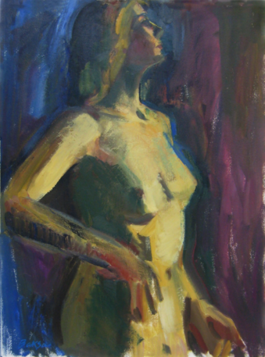 "Teresa Welch, Provincetown Woman, oil on rag paper, 30"" x 22"", 1994"