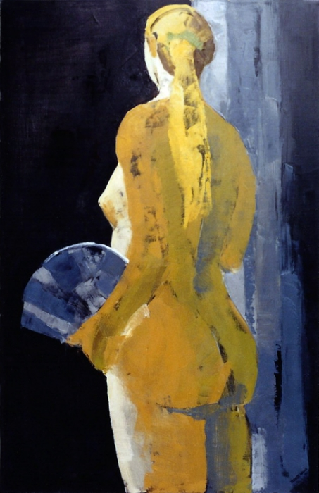 """Teresa Welch,  Carrie With A Fan , oil/canvas, 42"""" x 28"""", 1993"""
