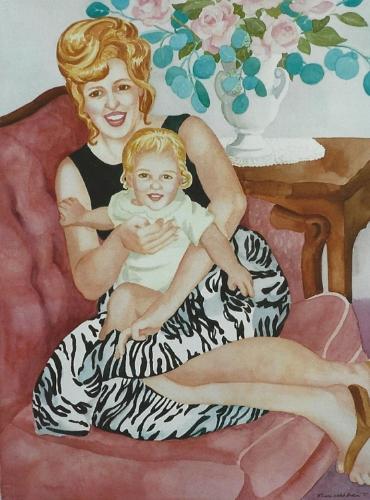"Teresa Welch, Gigi and Tena, watercolor, 30"" x 22"", 1995"