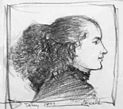 "Joseph Jeswald,  Terry , graphite/paper, 5"" x 6"", 1977"