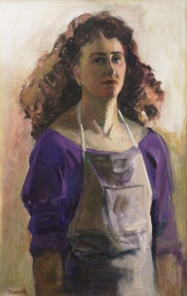 "Teresa Welch,  Self-Portrait , oil/canvas, 30"" x 19"", 1993"