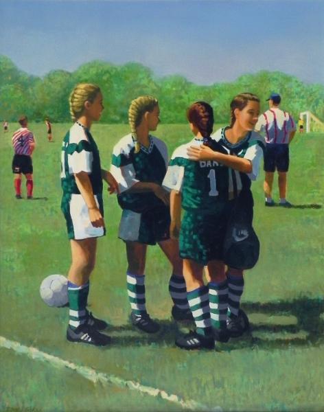 """Teresa Baksa,  Soccer Girls , oil/linen, 35"""" x 28"""", 1998"""