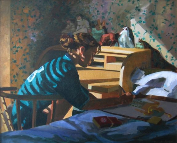 "Teresa Baksa,  Erin Drawing , oil/linen, 22"" x 27"", 1997"
