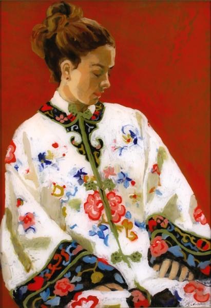 "Teresa Baksa,  Dreaming of Asia , oil on plexiglass , 30"" x 24"", 1999"