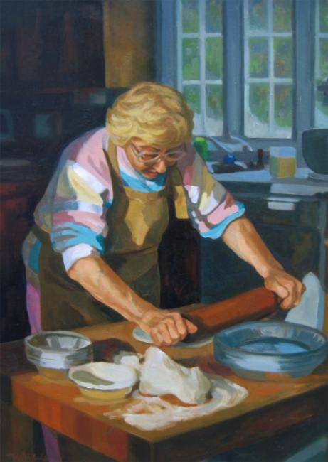 "Teresa Baksa,  Grace Baksa Working , oil/linen, 30"" x 22"", 1997"
