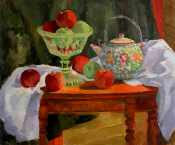 Teresa Baksa,  Still life with Compote and Teapot , oil/linen