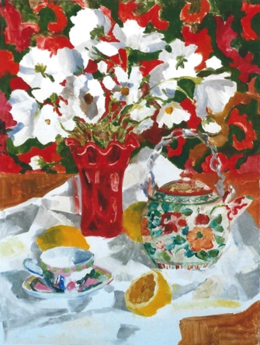 """Teresa Baksa,  White Cosmos , oil monotype, 22"""" x 16"""", 1999"""