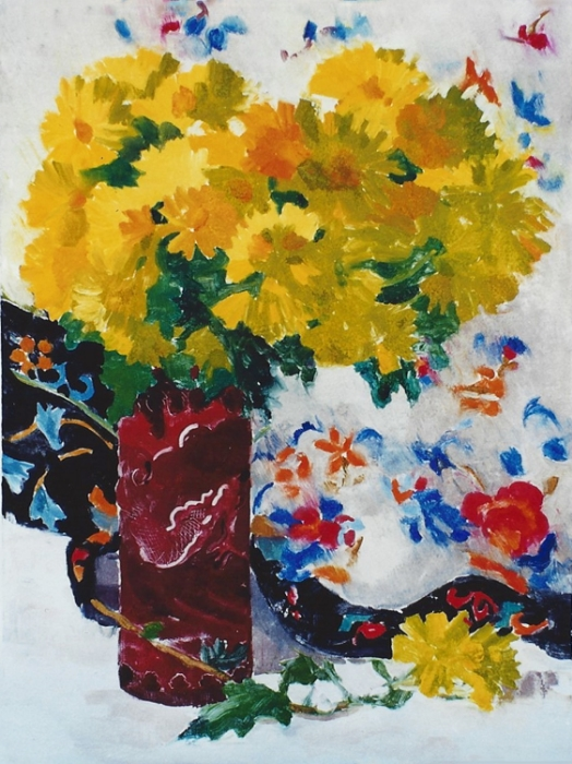 "Teresa Baksa,  Dragon Vase,  oil monotype, 22"" x 16"""