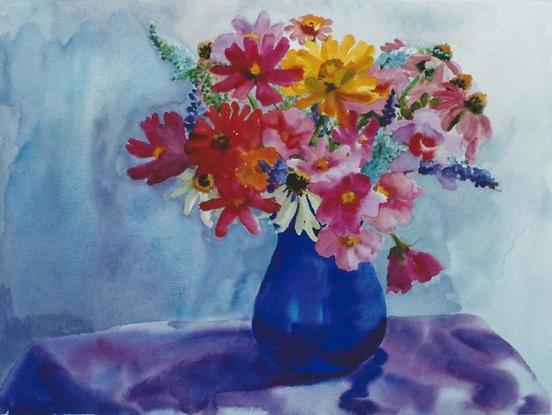 "Teresa Baksa,  Red and Pink Mix,  watercolor, 22"" x 30"", 1999"