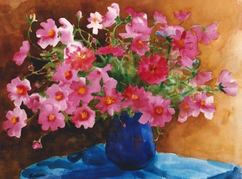 "Teresa Baksa,  Pink Cosmos,  watercolor, 22"" x 30"", 1999"