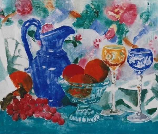"Teresa Baksa,  Blue Pitcher and Oranges,  oil monotype, 15"" x 18"", 1999"