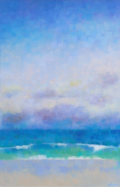 "Teresa Baksa,  Green Wave , oil/linen, 30"" x 20"", 2001"