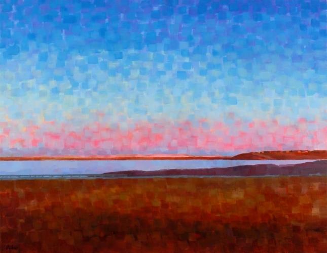 """Teresa Baksa,  Pink Dunes Over Route 6 , oil/canvas, 28"""" x 36"""", 2004"""