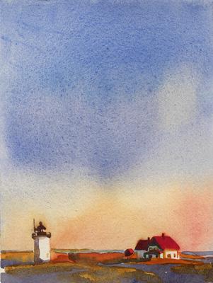 "Teresa Baksa, Race Point Light, watercolor, 7"" x 5"", 2003"