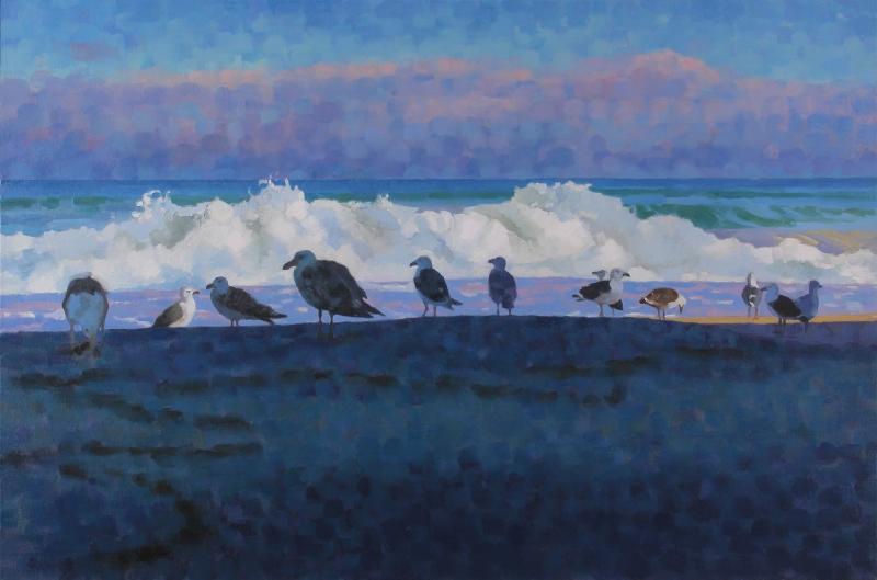 """Teresa Baksa,  Group Diversity,  oil on canvas, 22"""" x 34"""", 2004."""