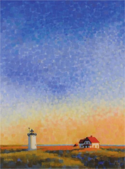 "Teresa Baksa, Race Point Light, oil/linen, 40"" x 30"", 2003"