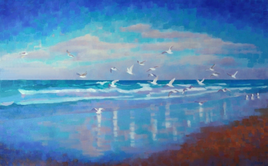 "Teresa Baksa,  Gull Reflections,  oil/linen, 30"" x 48"""