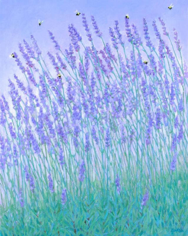 "Teresa Baksa, Lavender & Bees, oil/linen, 25"" x 20"""