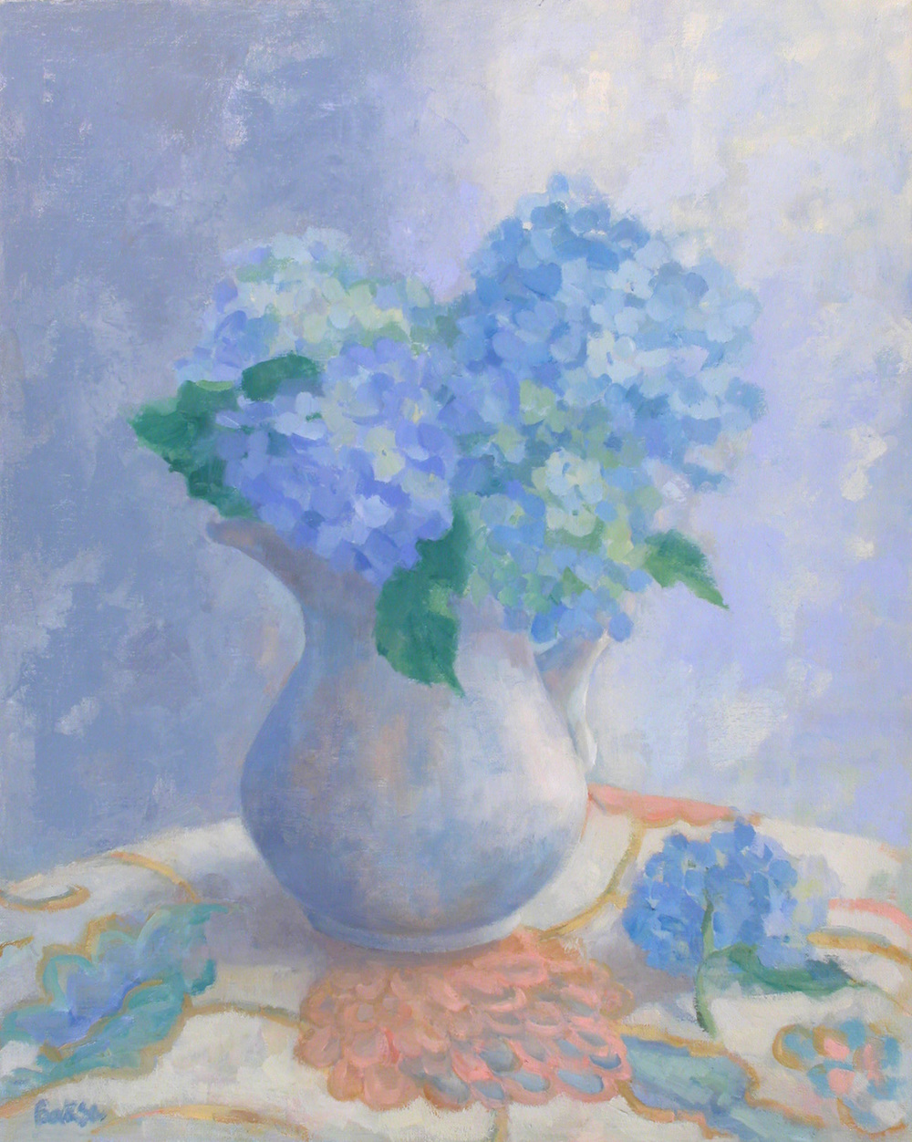 Hydrangeas In A Pitcher