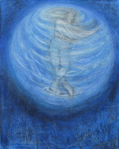 """Teresa Baksa,  A Celestial Feeling , ( Study for Becoming A Star), graphite, charcoal, pastel on canvas, 20"""" x 16"""", 2013"""