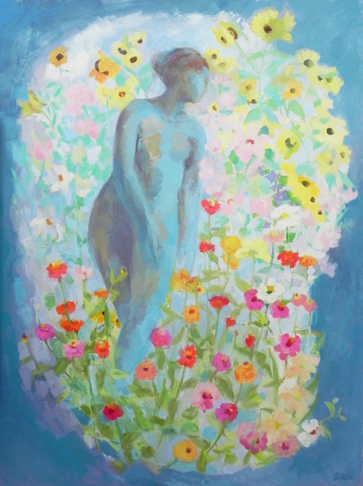 Teresa Baksa,  In A Coud Of Flowers,  oil/linen, 2015