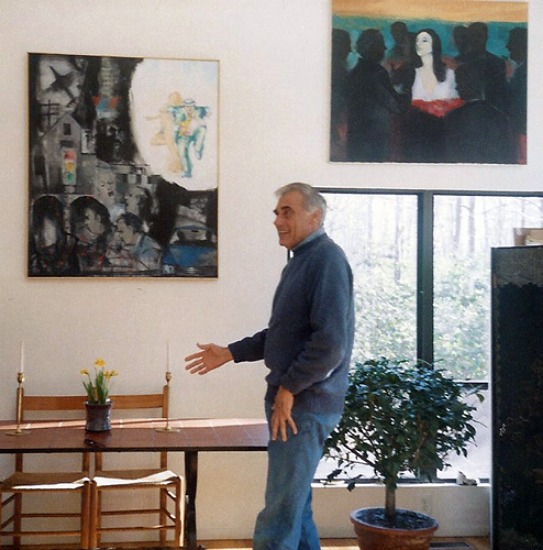 Joseph Jeswald with his paintings, Long Island, NY, 1990          Photo by Teresa Welch