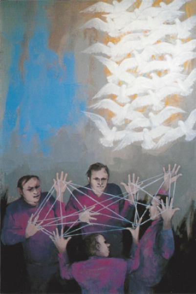 "Joseph Jeswald,  Bound/Bonded,  oil/linen, 55""x31"", 1993"