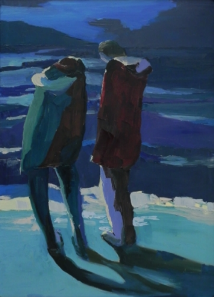 "Teresa Welch , Figures in Moonlight , oil/canvas, 40"" x 30"", 1977"