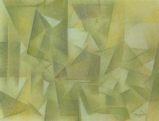 "Paul Scott , Quiet Time,  pastel,  9"" x 12"", 1979"