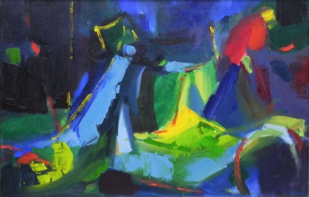 """Teresa Welch,  Underlying Form , 16"""" x 24"""", oil/canvas, 1979, Painted in Paul Scotts class: Plasticity In Space"""