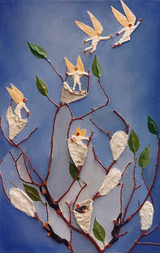 """Teresa Welch,  The Full Formation of the Soul , oil and mixed media relief on canvas, 34"""" x 22"""", 1990."""