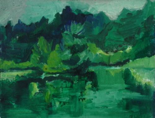 "Teresa Welch,  Partridge Pond, Acton , oil/canvas, 11"" x 14"", 1978"