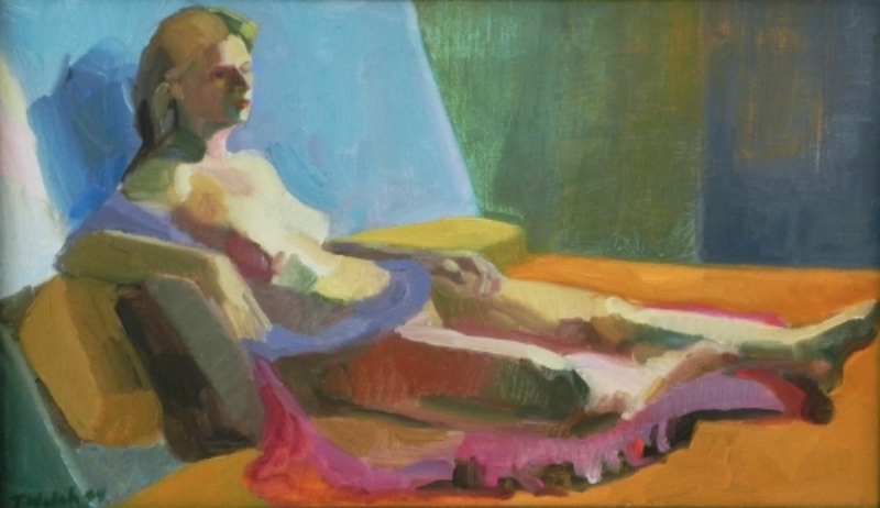 """Teresa Welch, Carrie Reclining, oil on canvas, 20"""" x 12"""", 1993"""