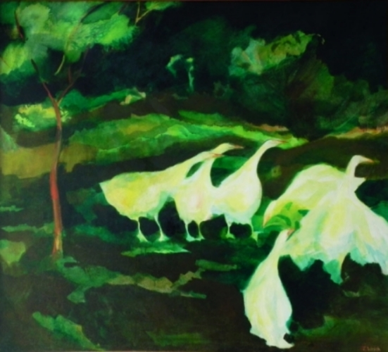 """Teresa Welch,  Geese In A Meadow , oil/canvas, 40"""" x 44"""", 1979"""