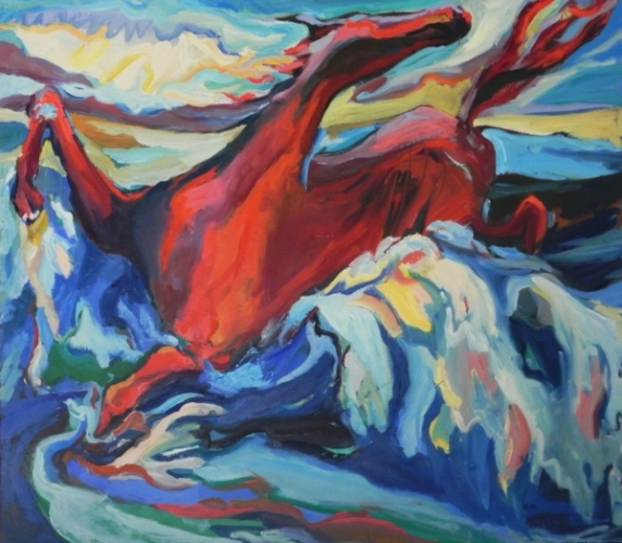 """Teresa Welch,  The Red Horse,  oil/canvas, 42"""" x 48"""", 1977"""