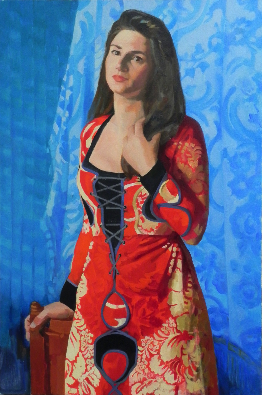 Teresa Baksa, Marisa's Dress, oil/canvas, 2018