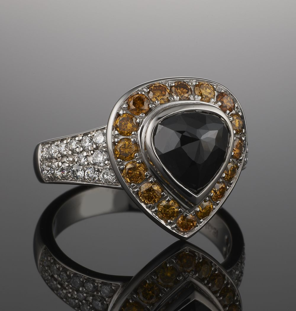 Ring featuring black diamond