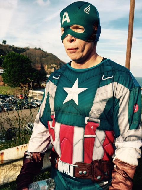 Eddie McCann's Captain America races, fights crime and entertains children.